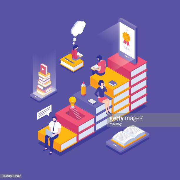 online education isometric concept - book stock illustrations