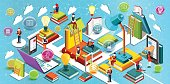 Online education Isometric flat design. The concept of reading books in the library and in the classroom. Concept of education. Learning process. University studies. Vector illustration