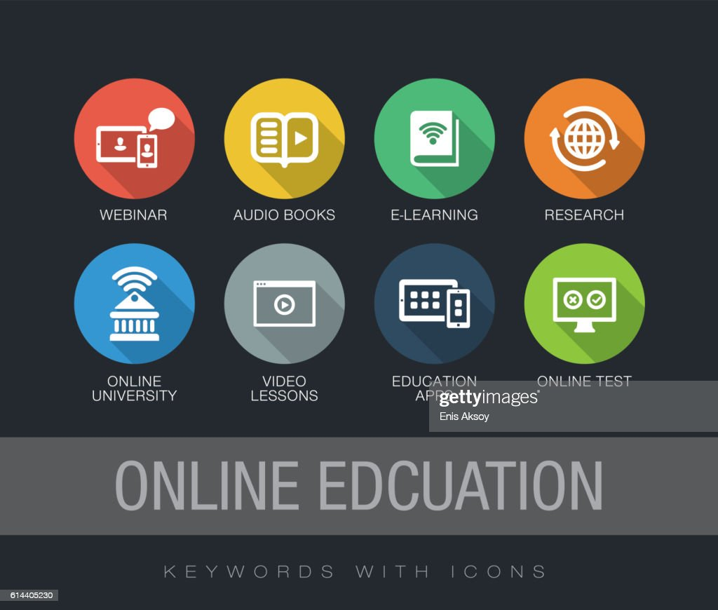 Online Education keywords with icons : stock illustration