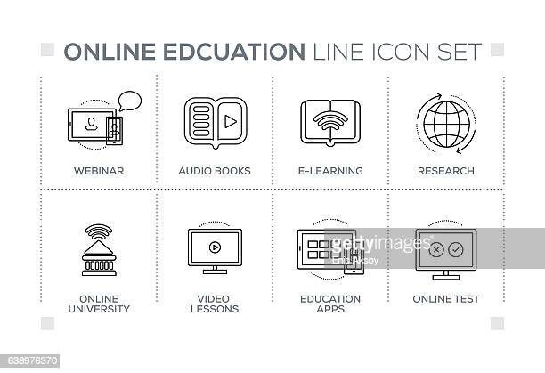 Online Education keywords with monochrome line icons