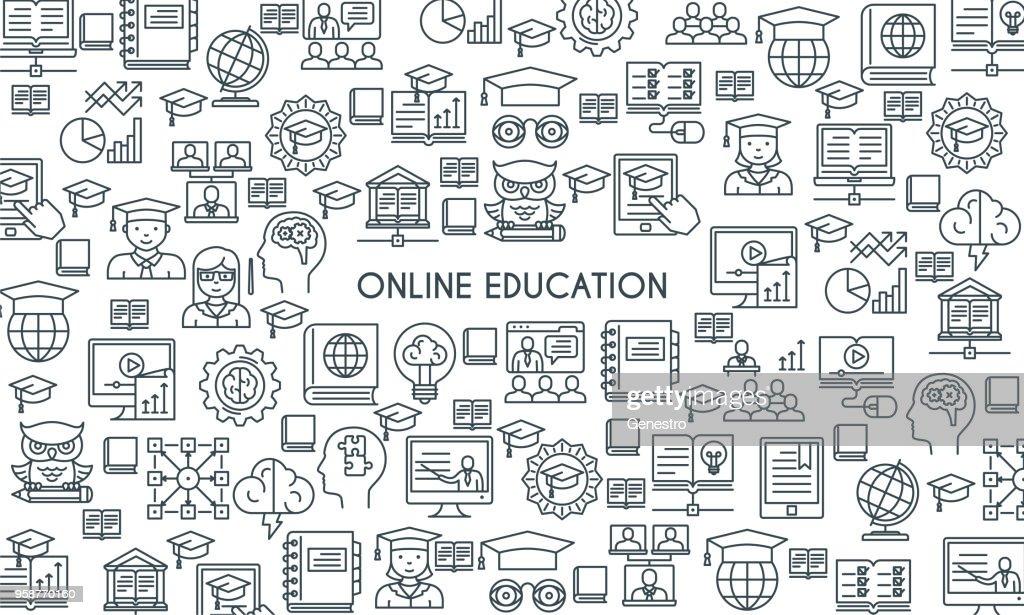 Online education line banner