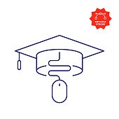 Online Education Line Icon with Editable Stroke and Pixel Perfect.