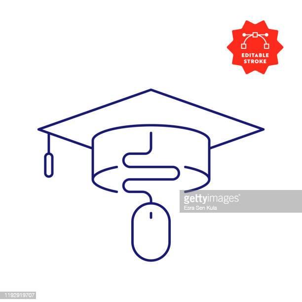 ilustraciones, imágenes clip art, dibujos animados e iconos de stock de icono de línea de educación en línea con trazo editable y píxel perfecto. - birrete