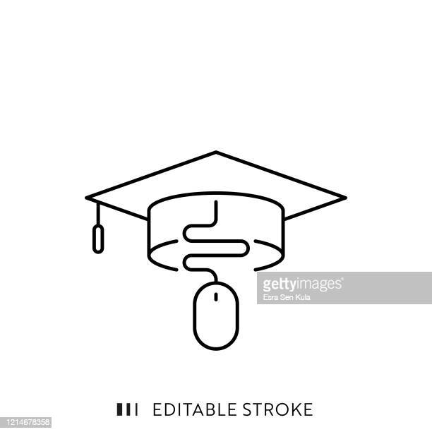 online education line icon mit editierbarem strich und pixel perfekt. - bildungseinrichtung stock-grafiken, -clipart, -cartoons und -symbole