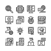 Online education line icons set. 48x48 px. E-learning, elearning, distance education, online video courses, digital tutorials concepts. Modern graphic design. Simple stroke outline elements collection. Stroke, linear design. Pixel perfect. Vector line ico