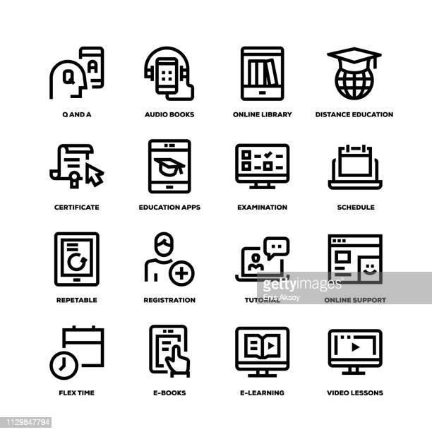 online education line icons - audio equipment stock illustrations, clip art, cartoons, & icons