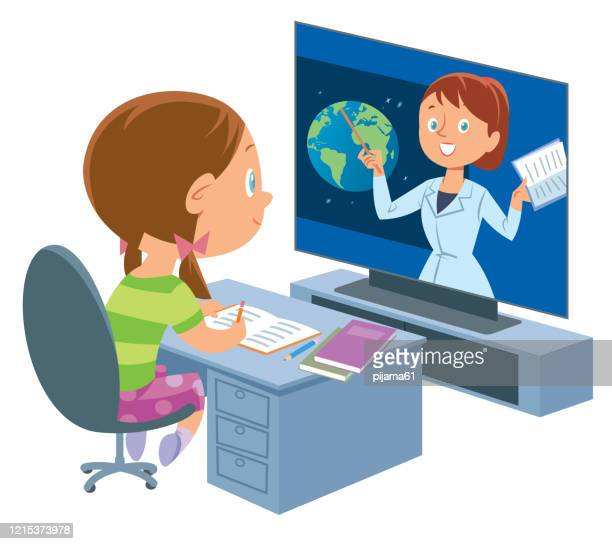 ilustrações, clipart, desenhos animados e ícones de educação online. menina - 6 7 anos