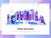 Online education modern flat design concept. Landing page template.