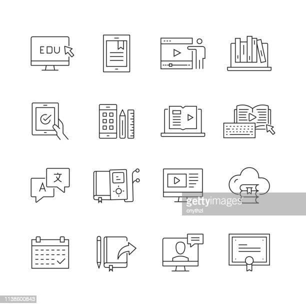 online-bildung-set von dünn-linie-vektor-ikonen - e book reader stock-grafiken, -clipart, -cartoons und -symbole