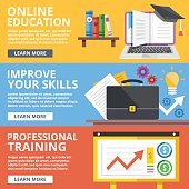 Online education, skills improvement, professional training flat illustration concepts set