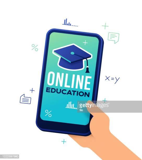 オンライン教育スマートフォン - 電子書籍点のイラスト素材/クリップアート素材/マンガ素材/アイコン素材