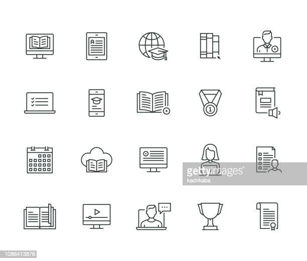online education thin line series - web conference stock illustrations
