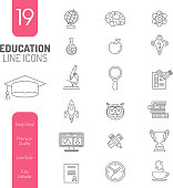 Online Education Thin Lines Web Icon Set