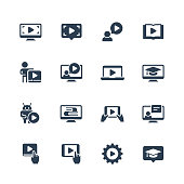 Online education, tutorials and webinars vector icon set