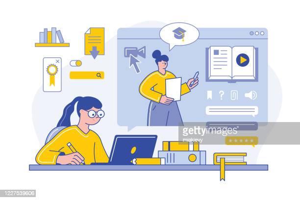 online education - live broadcast stock illustrations