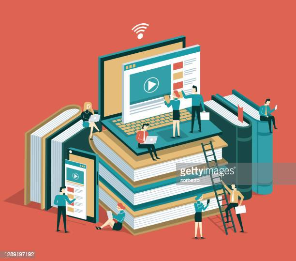 online education - library stock illustrations