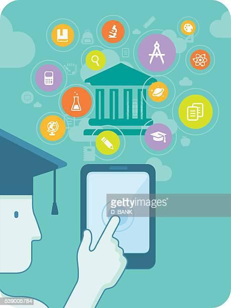 online education - master's degree stock illustrations