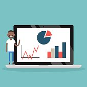 Online education. Young black man presenting the results of the study / flat editable vector illustration