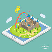 Online fairy tale reading isometric vector.