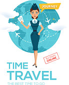 Online flight booking service. Advertising poster, banner. Stewardess keeps air tickets and offers to go on voyage