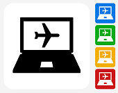 Online Flights Icon Flat Graphic Design