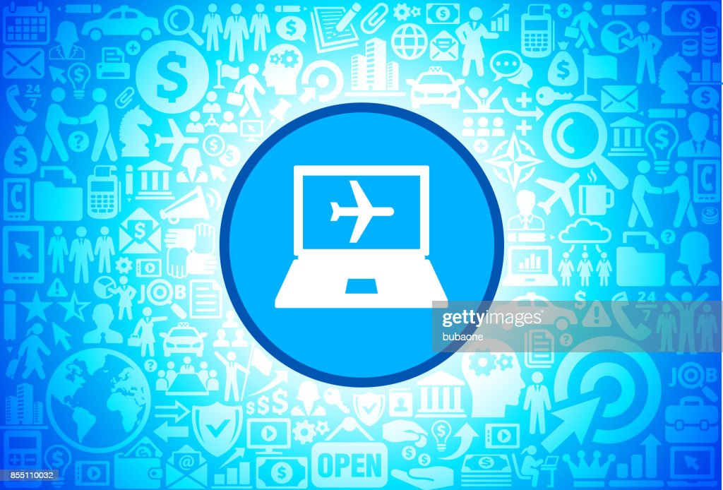 Online Flights  Icon on Business and Finance Vector Background