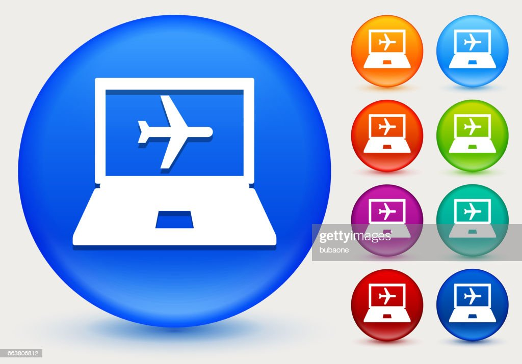 Online Flights Icon On Shiny Color Circle Buttons Vector Art