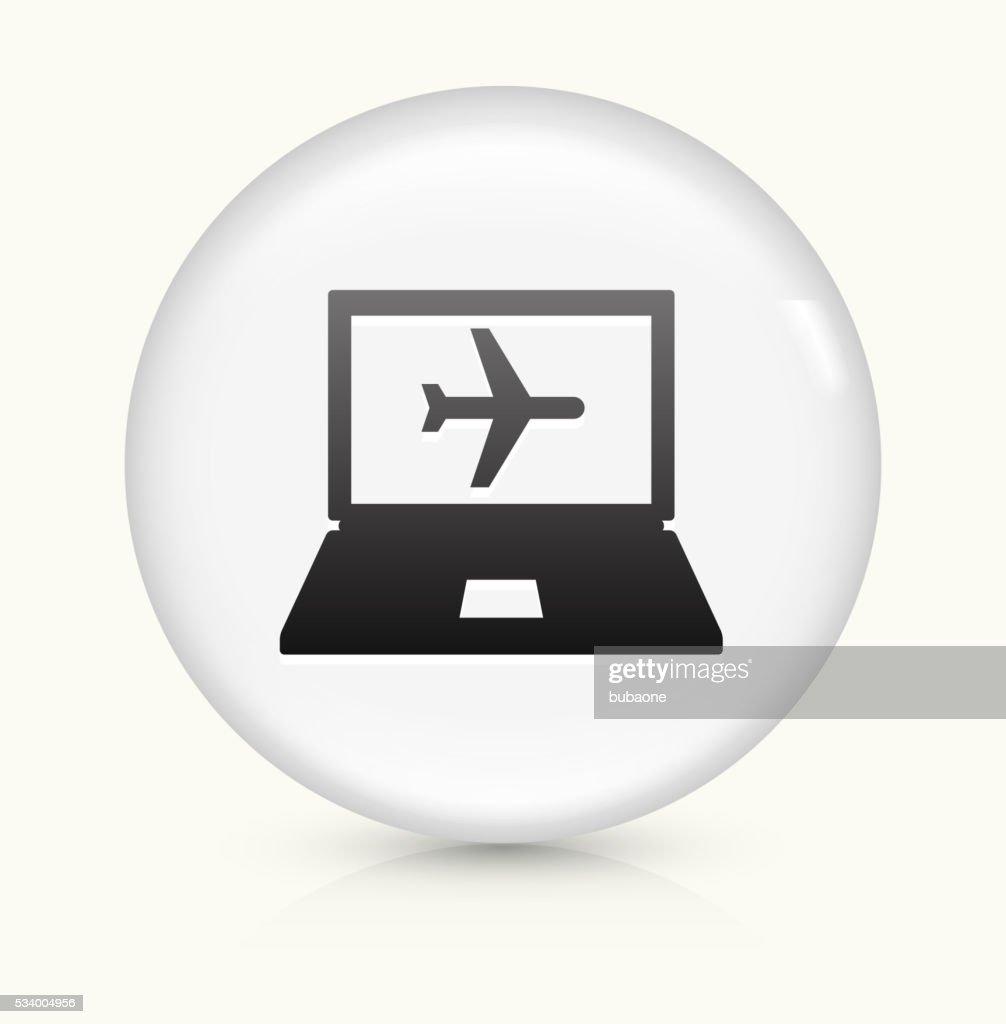 Online Flights Icon On White Round Vector Button Art
