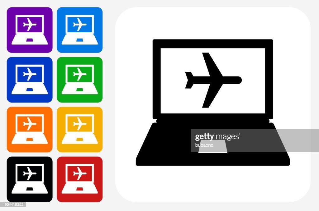 Online Flights Icon Square Button Set Vector Art