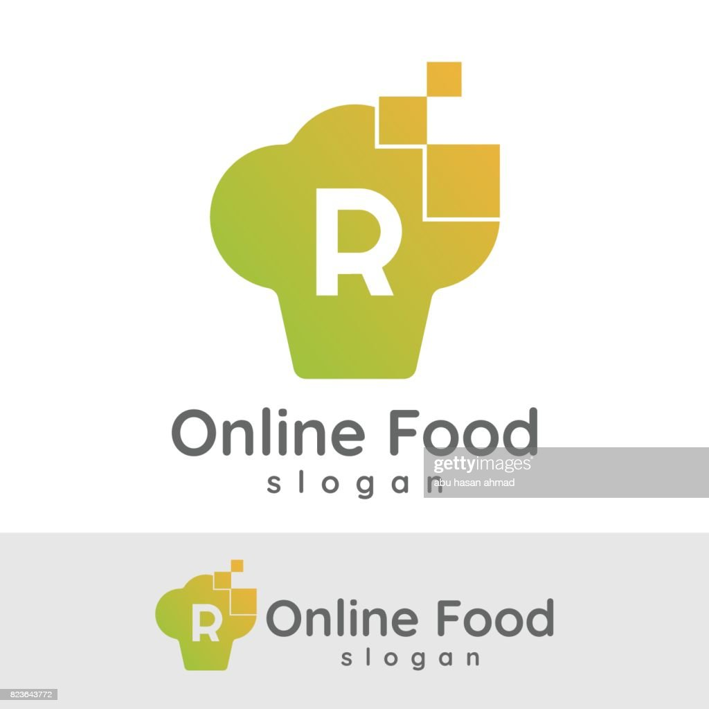 online food initial letter r icon design vector art getty images