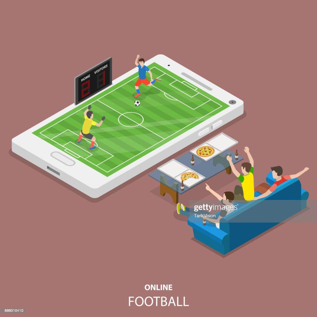 Online football flat isometric vector concept