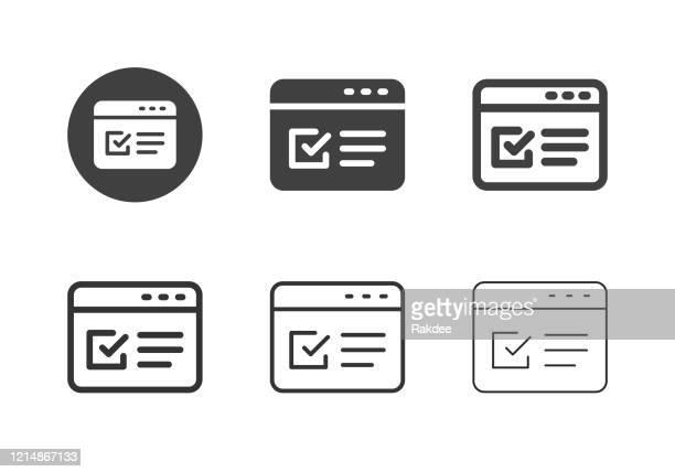 ilustrações, clipart, desenhos animados e ícones de ícones de formulário online - série multi - loja de produtos eletrônicos