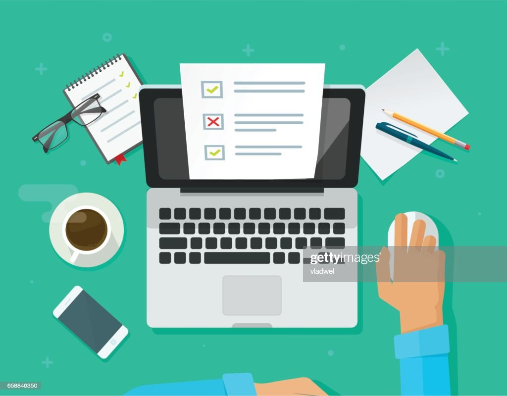 Online form survey on laptop vector, person working on computer showing quiz exam paper sheet document