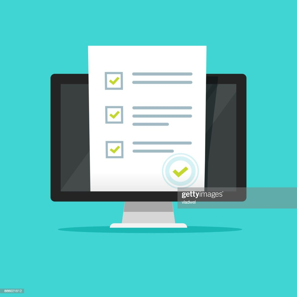 Online form survey on pc computer vector illustration, flat cartoon design monitor display showing quiz exam paper sheet document, concept of electronic voting on internet, web learning