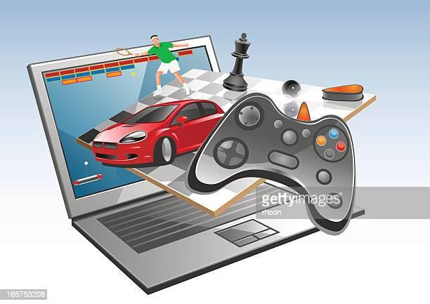 online gaming - handheld video game stock illustrations