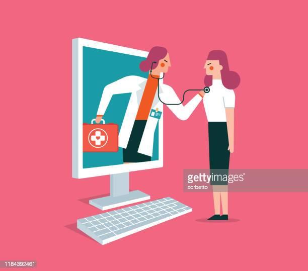 illustrazioni stock, clip art, cartoni animati e icone di tendenza di online - healthcare - female - infermiera
