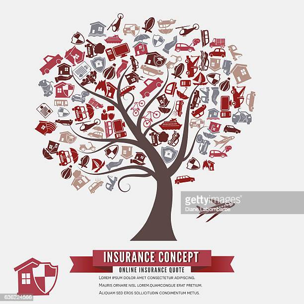 online insurance concept with icons in a tree shape - hailstone stock illustrations, clip art, cartoons, & icons