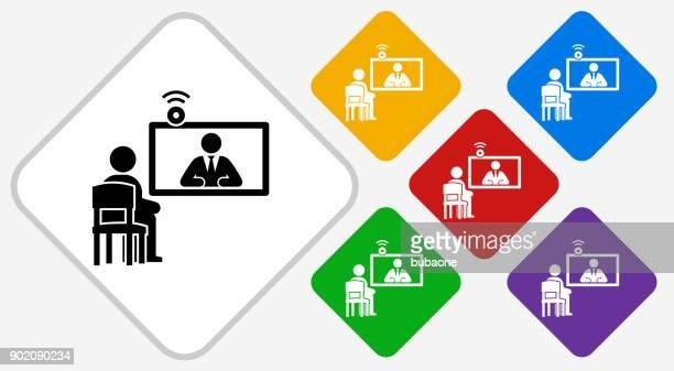 Online Interview Color Diamond Vector Icon