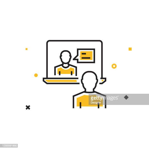 online interview flat line icon, outline vector symbol illustration. - job fair stock illustrations