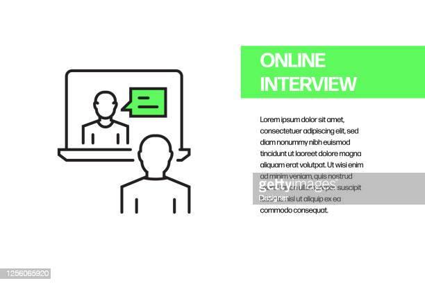 オンラインインタビューフラットラインアイコン、アウトラインベクトルシンボルイラスト。 - バーチャルイベント点のイラスト素材/クリップアート素材/マンガ素材/アイコン素材