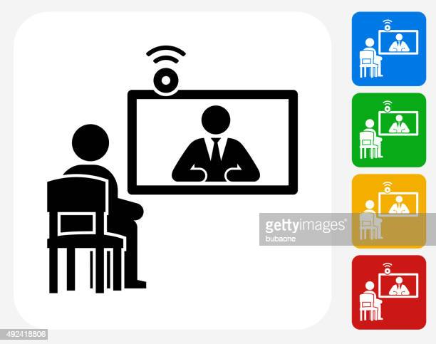 online interview icon flat graphic design - webcam media apparaat stock illustrations