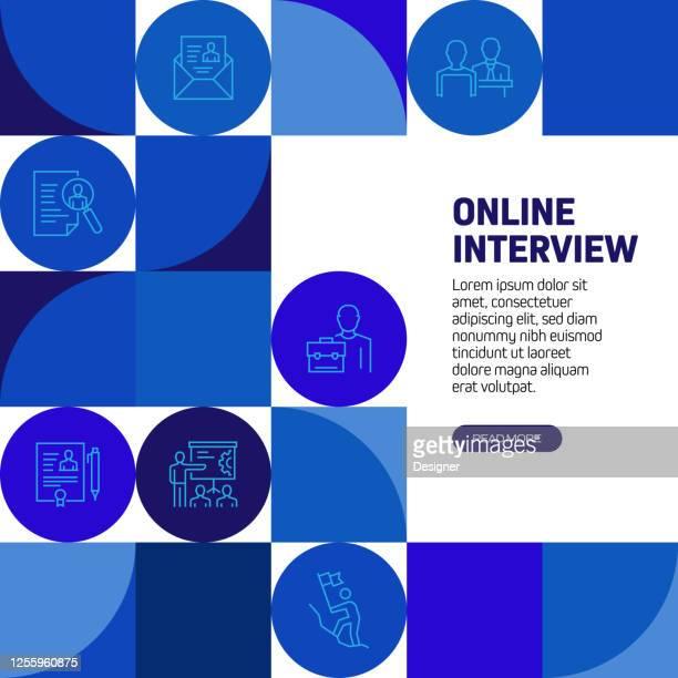 アイコン付きオンラインインタビュー関連バナーデザイン - バーチャルイベント点のイラスト素材/クリップアート素材/マンガ素材/アイコン素材