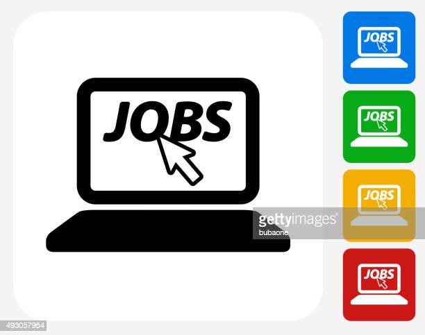 Online Job Search Icon Flat Graphic Design