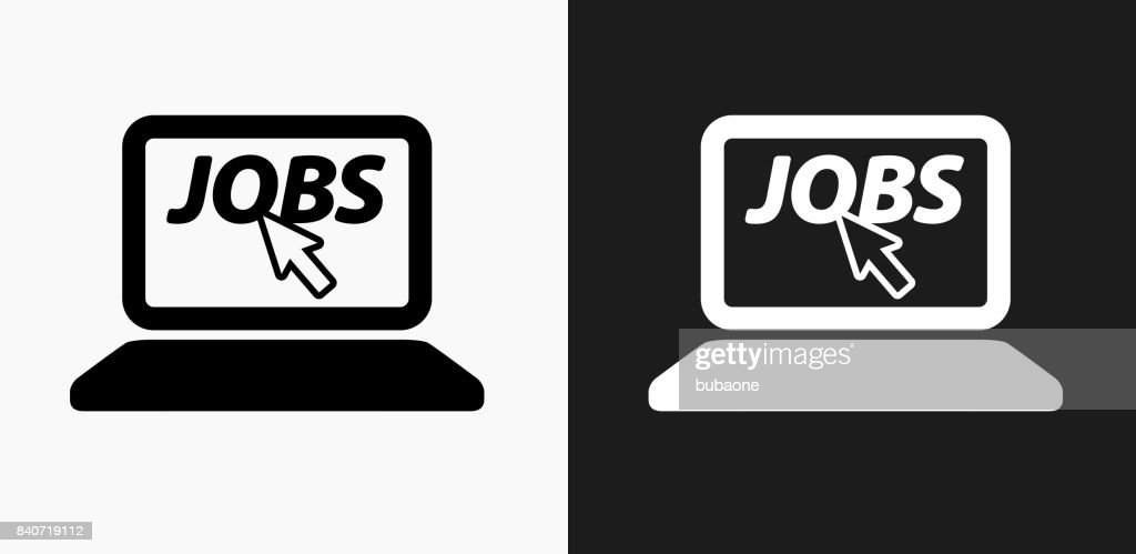 Online Job Search Icon On Black And White Vector
