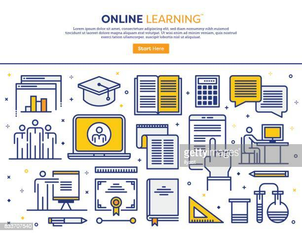 online learning concept - distant stock illustrations