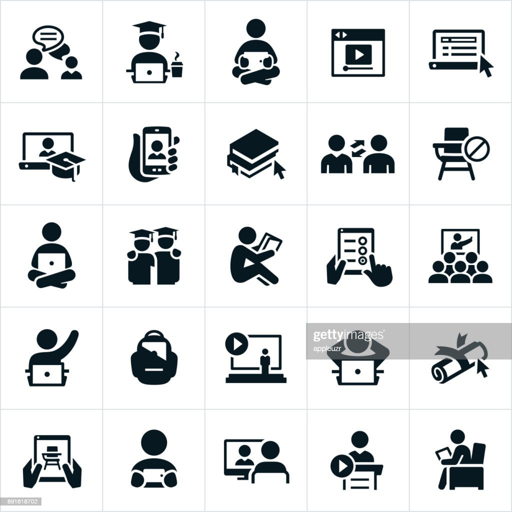 Online Learning Icons : stock illustration