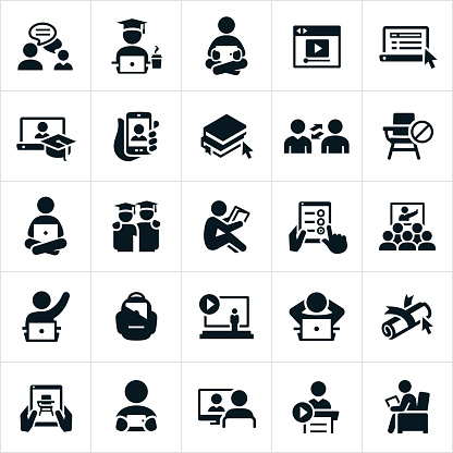 Online Learning Icons - gettyimageskorea