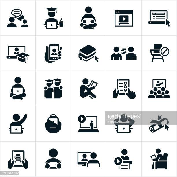 online learning icons - showing stock illustrations