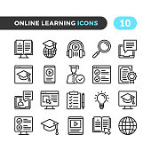 Online learning line icons. Elearning, distance and online courses, tutorials concepts. Outline symbols collection. Modern stroke, linear elements. Premium quality. Pixel perfect. Vector thin line icons set