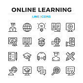 Online learning line icons set. Elearning, e-learning. Modern outline elements, graphic design concepts. Stroke, linear style. Simple symbols collection. Vector line icons